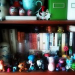 This is the shelf above my computer. I like books. And toys.
